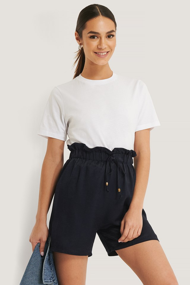 Belted High Waist Shorts Navy