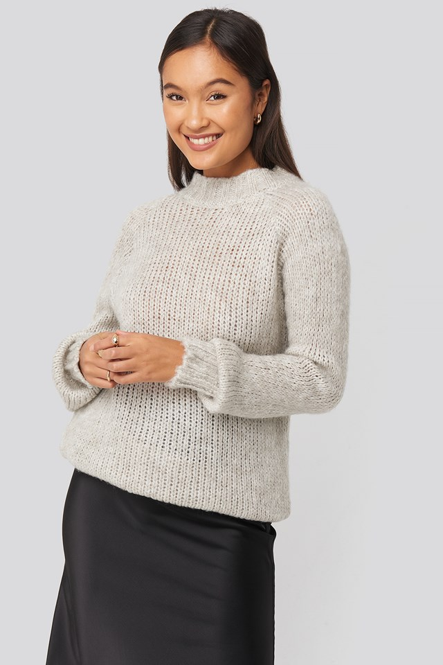 Bike Collar Knitted Sweater Trendyol