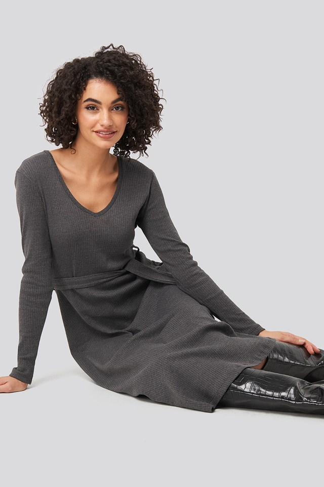 Gray Binding Detailed Midi Dress
