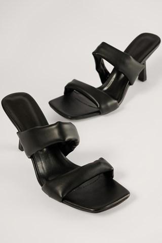 Black Block Strap High Heels