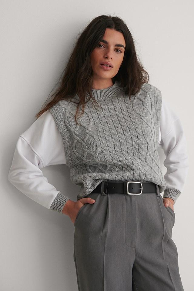 Braided Knit Sweater Gray