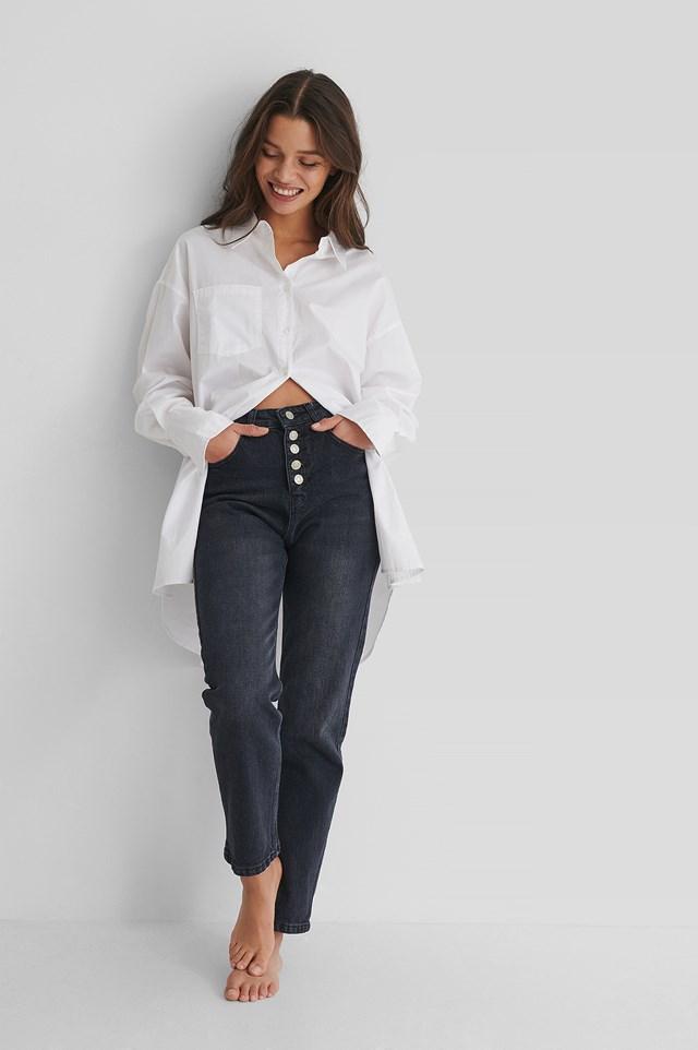 Button Detail Crop Jeans Black