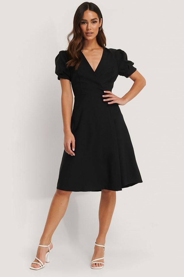 Button Detail Wrap Midi Dress Black
