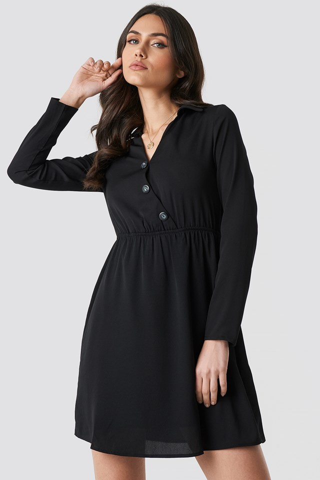 Button Detailed Mini Dress Trendyol