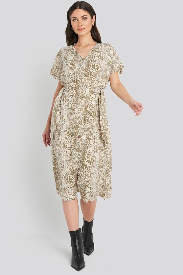 Button Snake Long Dress Cream