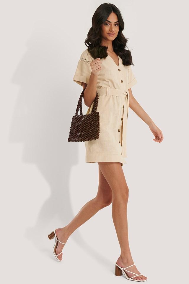 Buttoned Mini Dress Beige