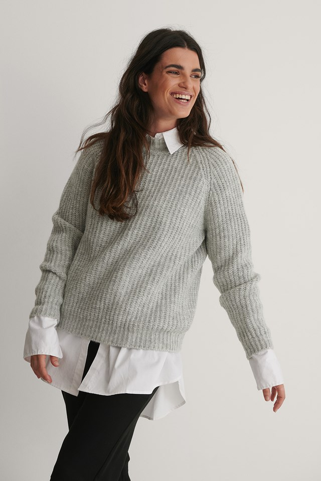 Chenille Turtleneck Sweater Gray