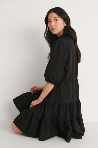 Black Collar Detail Mini Dress