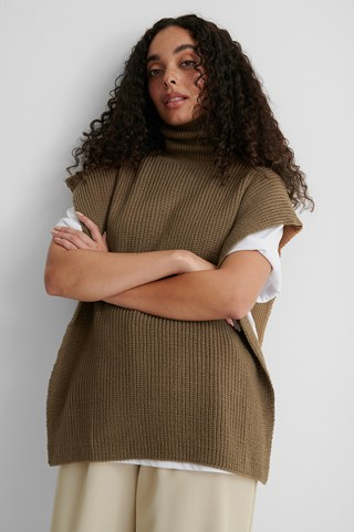 Camel Color Block Knitted Top