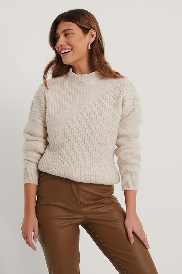 Detailed Knit Sweater Stone