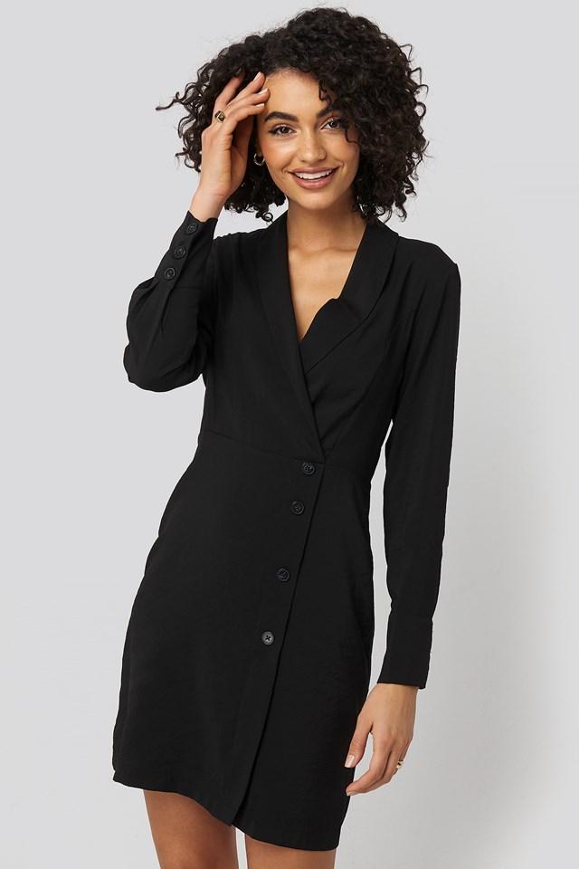 Double Breasted Collar Mini Dress Black