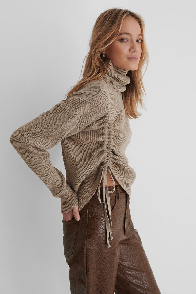 Drawstring Detail Knit Sweater Mink