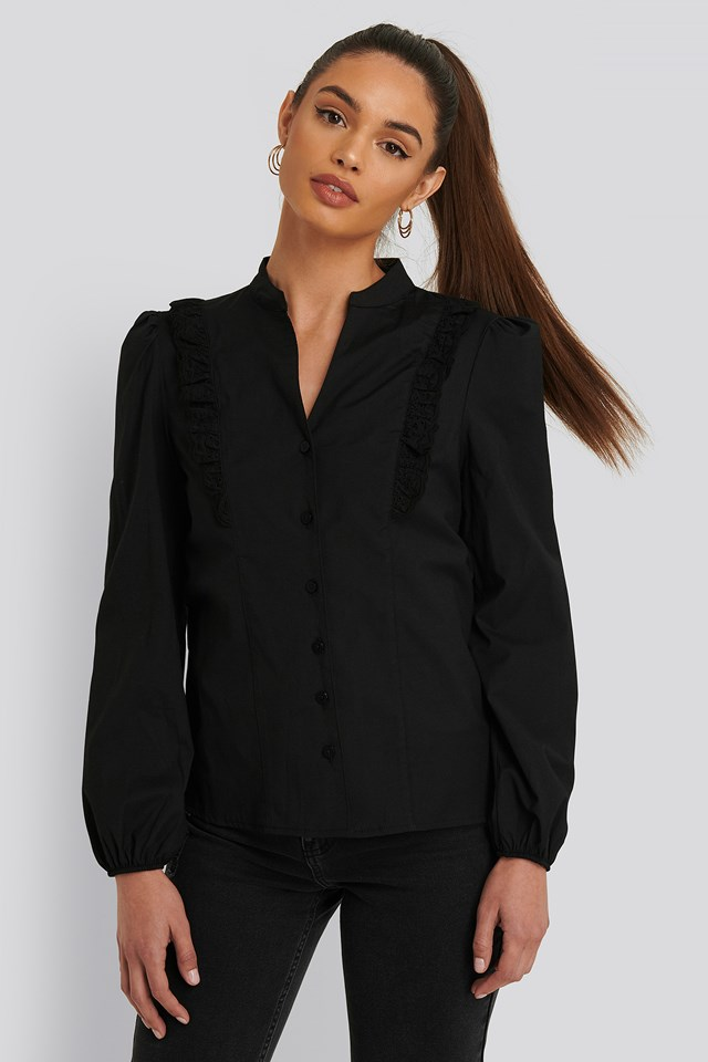 Embroidery Detailed Shirt Black