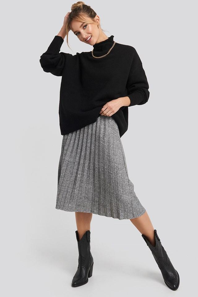 Eyelash Pleated Knitted Skirt Gray