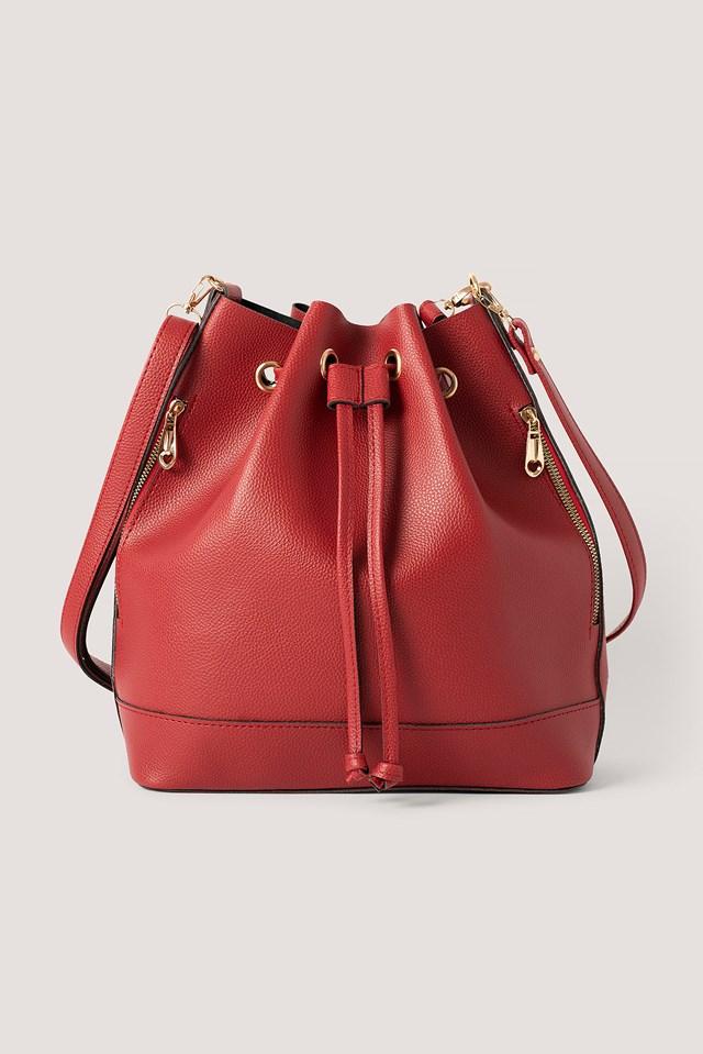 Faux Leather Shoulder Bag Red