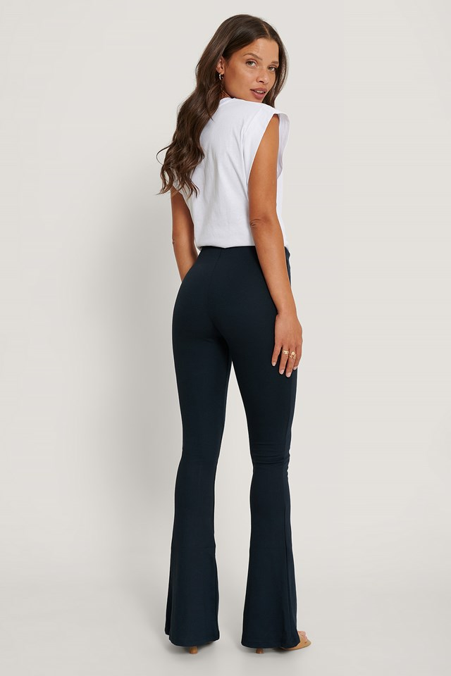 Flared Trousers Navy