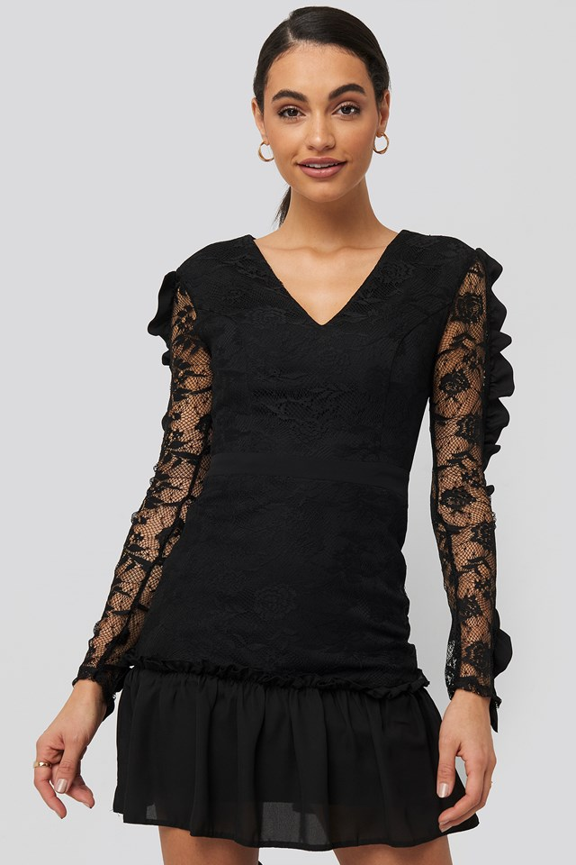 Frilly Lace Sleeve Mini Dress Black