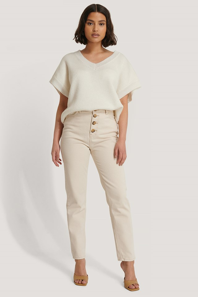 Cream Front Button Mom Jeans