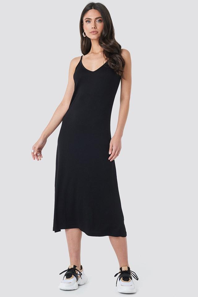 Halter Strap Midi Dress Black
