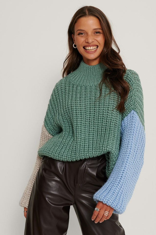 High Collar Block Sweater Mint