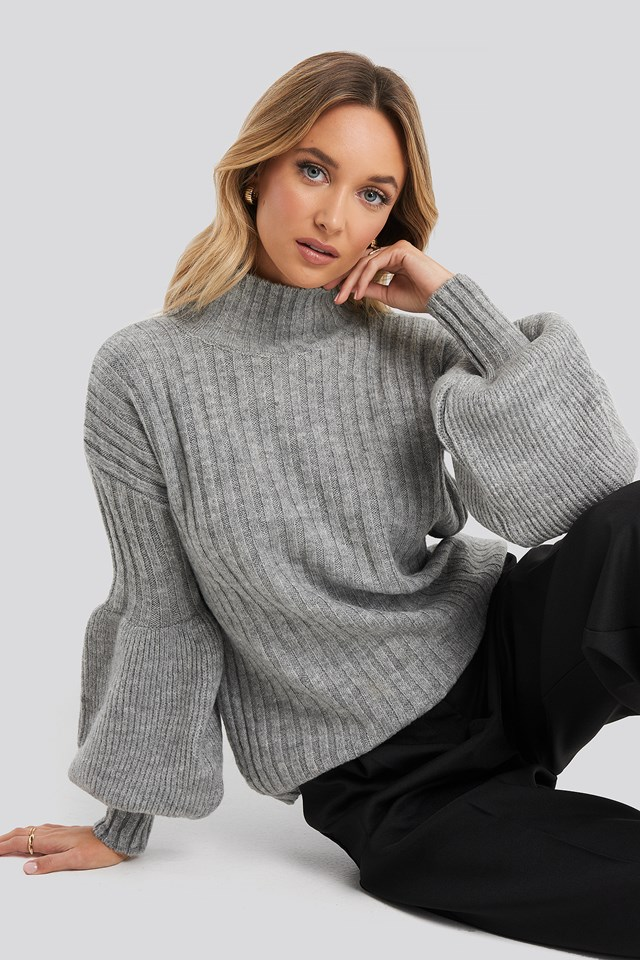 High Neck Puff Sleeve Knitted Sweater Trendyol