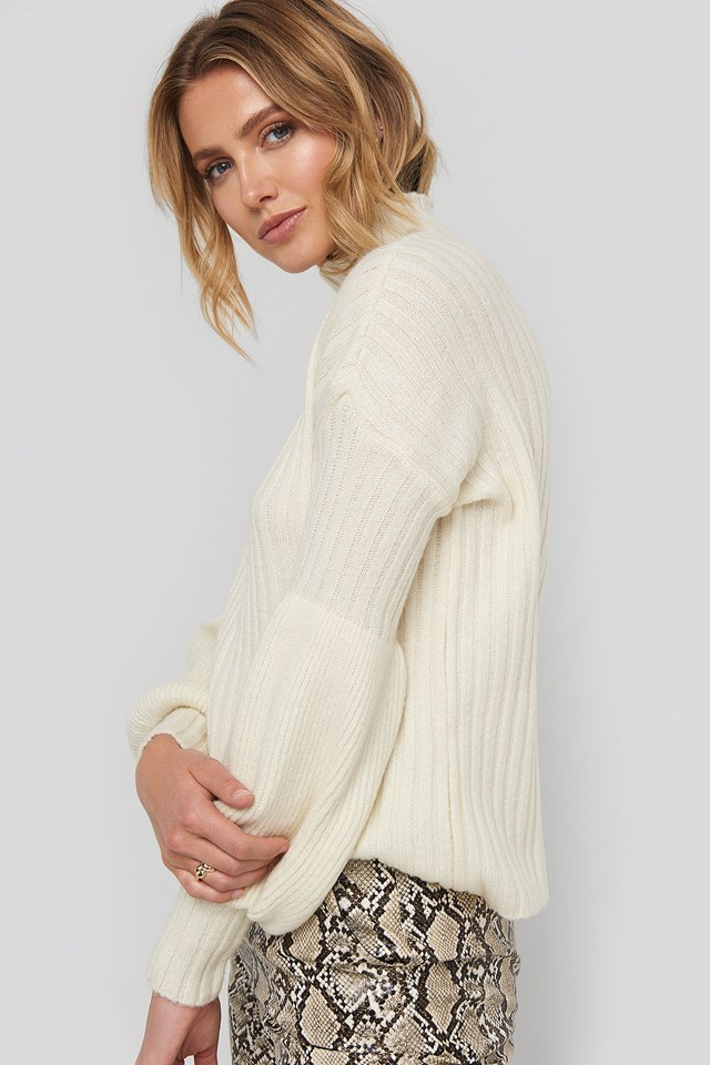 Stone High Neck Volume Cuffs Knitted Sweater