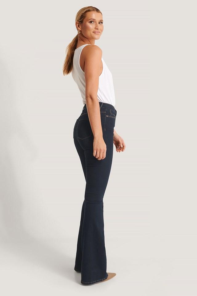 High Waist Flare Jeans Navy
