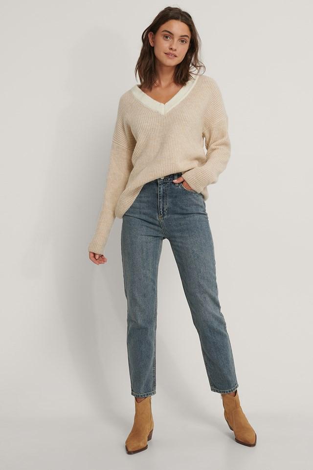 High Waist Mom Jeans Blue