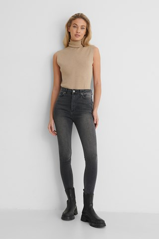 Antracite High Waist Skinny Jeans