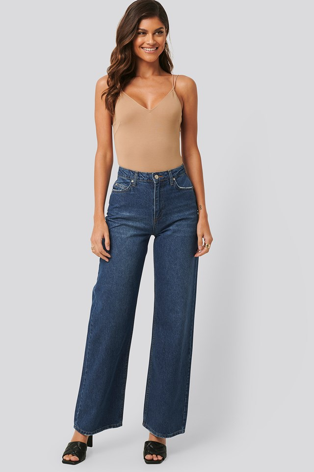 High Waist Wide Leg Jeans Indigo