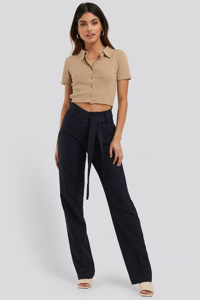 High Waisted Belt Pants Navy