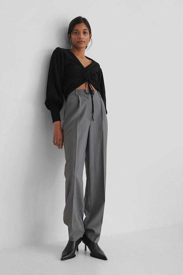 Knit Drawstring Detail Sweater Black