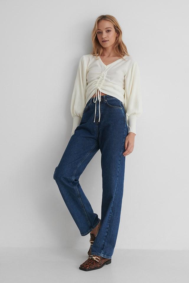 Knit Drawstring Detail Sweater Ecru