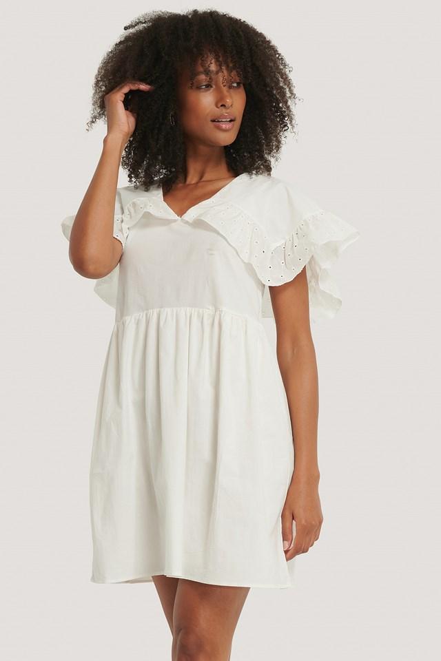 Lace Collar Detail Mini Dress White