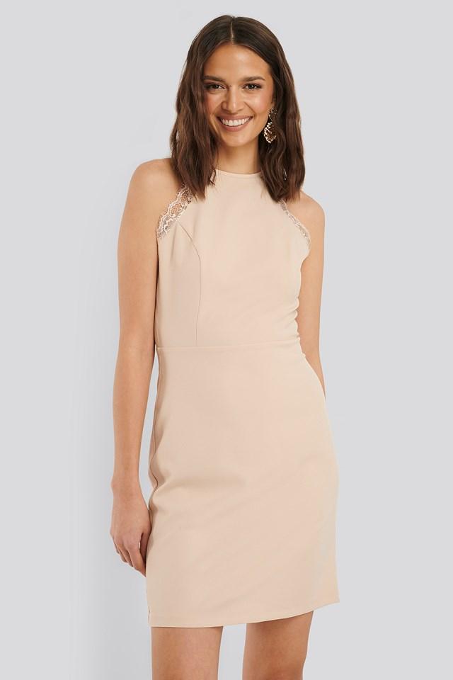 Lace Detailed Mini Dress Beige