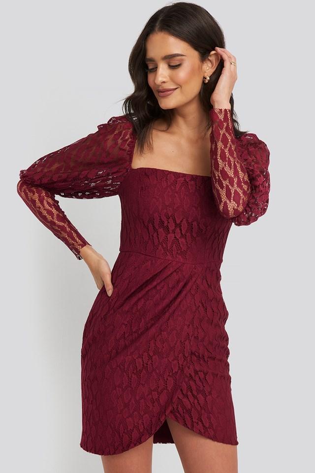 Lace Sleeve Detailed Mini Dress Burgundy