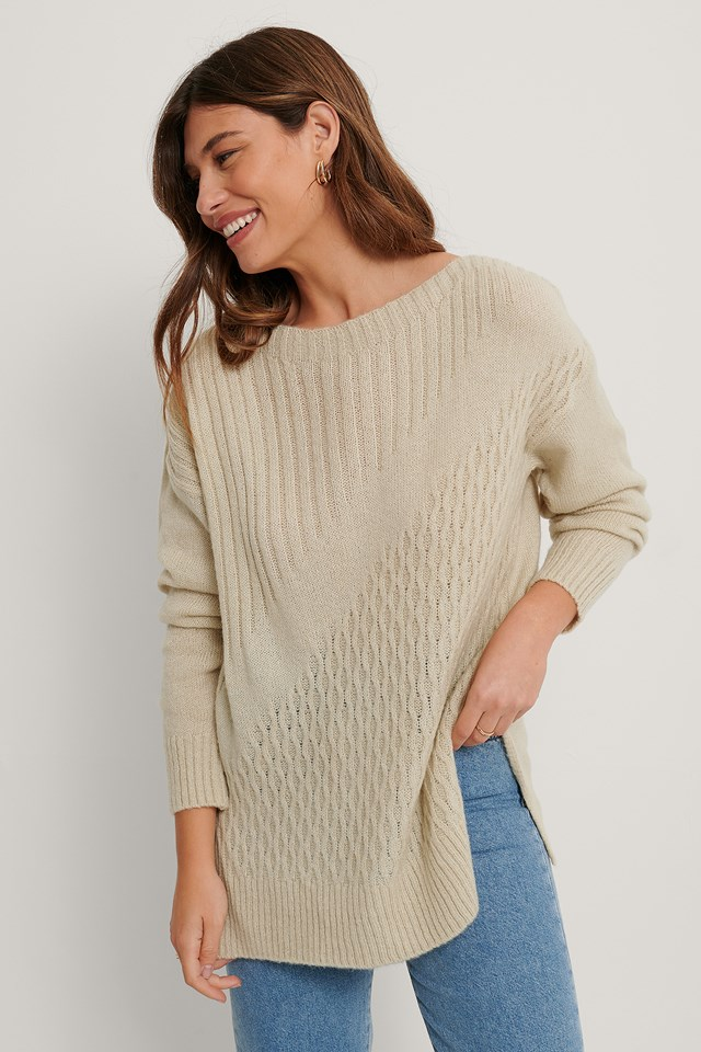 Long Detailed Knit Sweater Stone