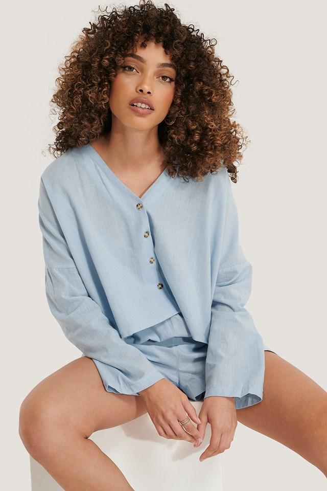 Loose Fit Pyjamas Set Blue