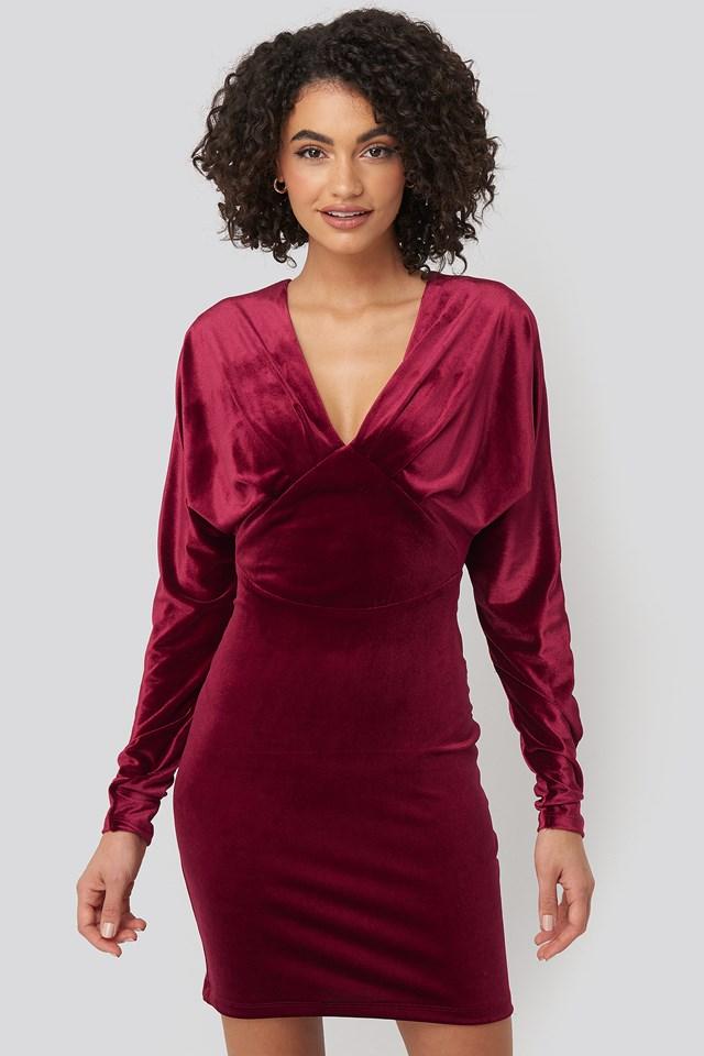 Low-Cut Neckline Mini Dress Burgundy