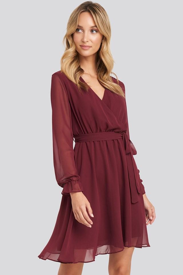 Mesh Contrast Mini Dress Burgundy