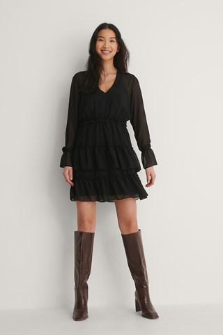 Black Mesh Mini Dress