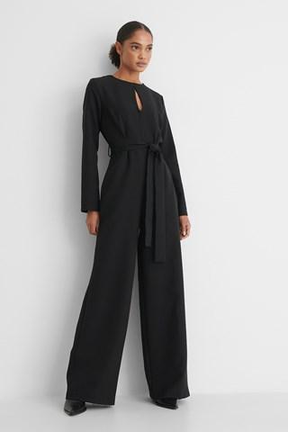 Black Milla Belted Jumpsuit