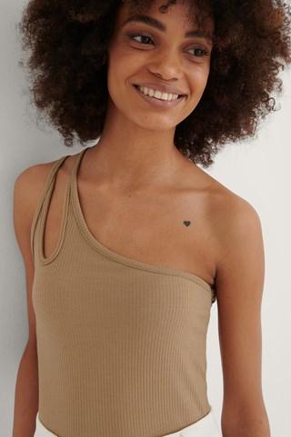 Camel Milla One Shoulder Top