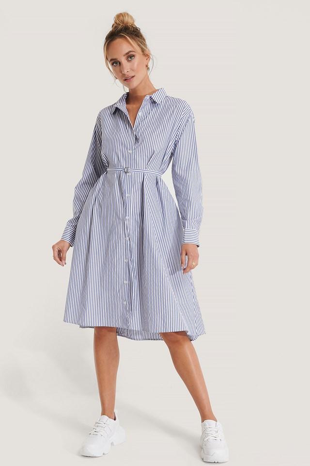 Milla Striped Midi Dress Blue