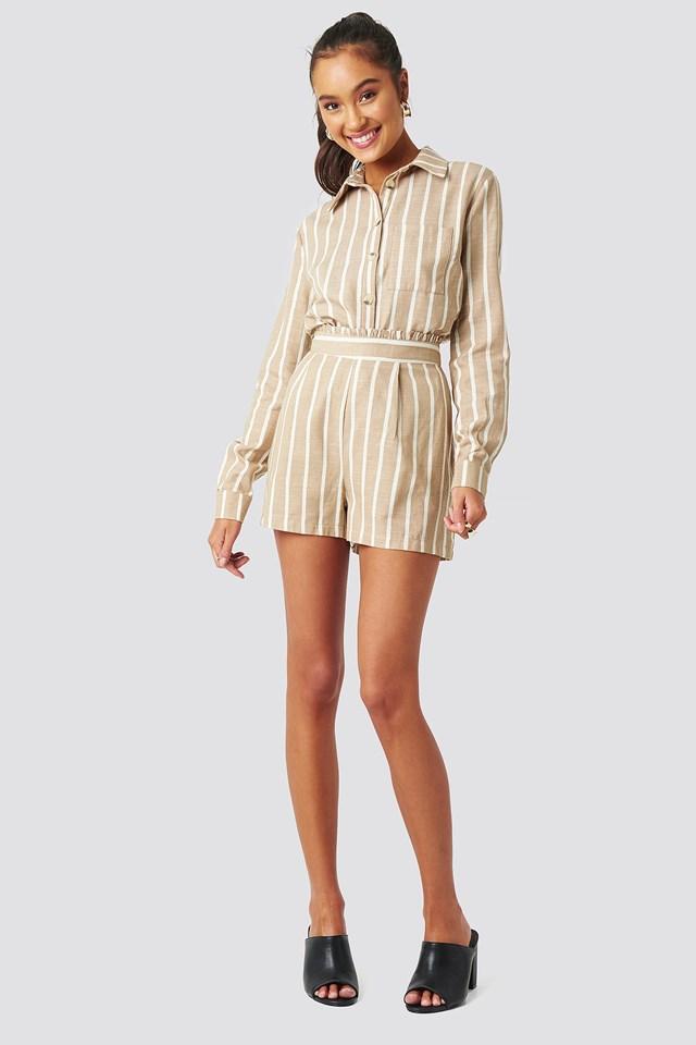 Milla Striped Shorts Beige