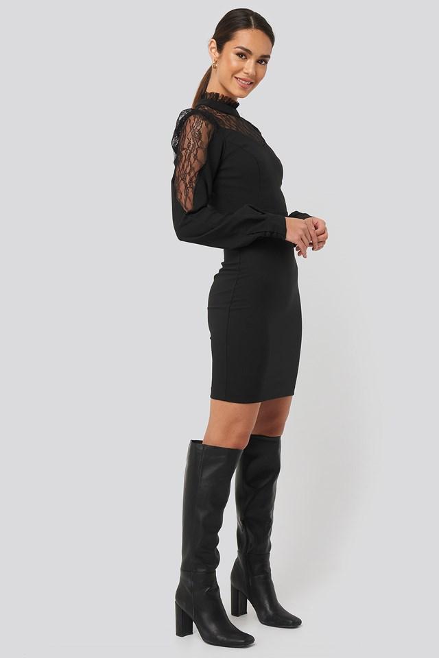 Mini Lace Detailed Dress Black