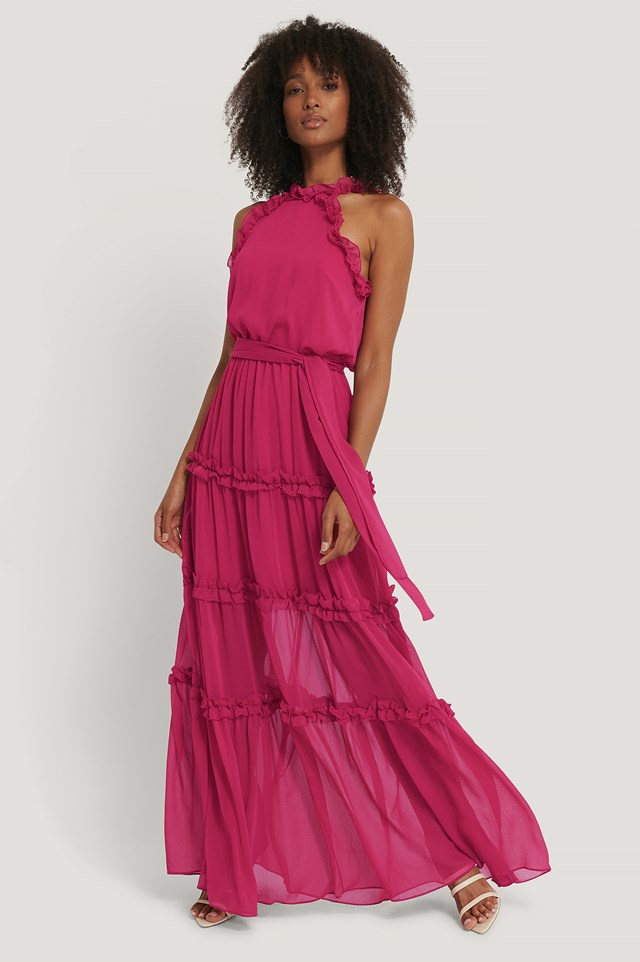 Neckline Detailed Evening Dress Fuchsia