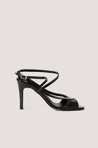 Black Open Toe Strappy Sandals
