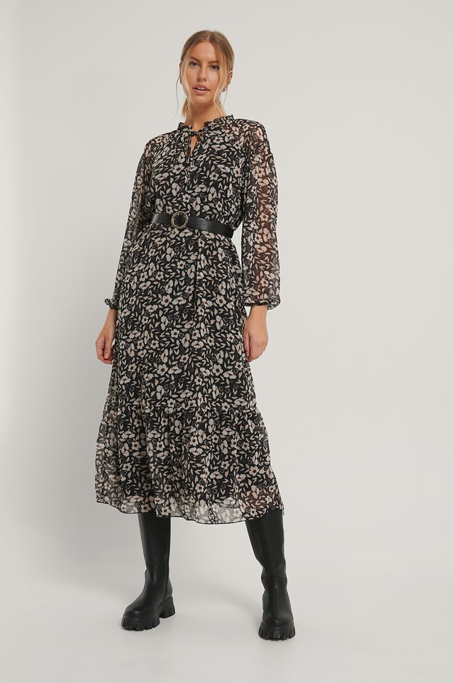 Patterned Midi Dress Black