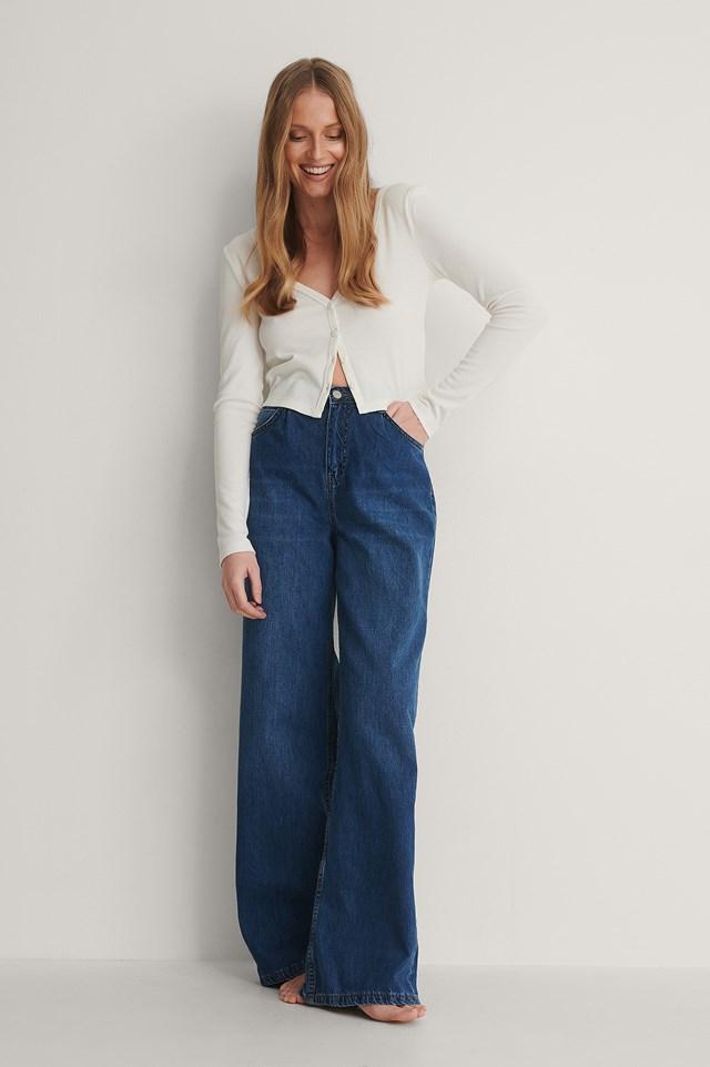 Blue Pleated High Waist Wide Jeans